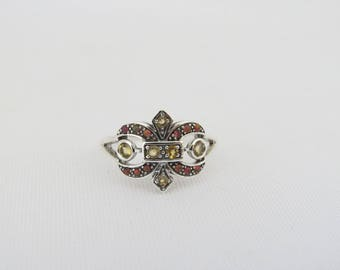 Vintage Sterling Silver Natural Citrine & Orange Opal Fleur De Lis Ring Size 7