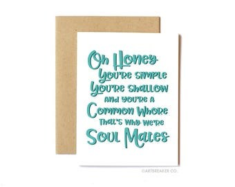 Funny Will & Grace Card, Funny Birthday Card, Pop Culture, Television - Soul Mates