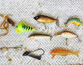 Assorted Vintage Fishing Lures, Set of 8