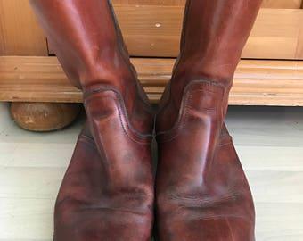 Men's FRYE Brown Leather Boots Size 11D EUC