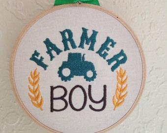 Farmer Boy embroidery wall hanging, Boy Nursery Decoration, Embroidery Art , Kids room decoration, Baby Wall decoration, Baby room decor