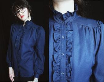 vintage 80's navy blue ruffled secretary blouse | women's steampunk top | long sleeve button up ruched shoulder shirt | high neck steam punk
