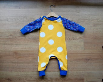 Baby Jumpsuit Dots and flowers, size 6-9 months, playful, bright, unisex