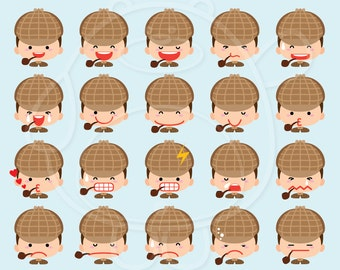 40 Sherlock Holmes  Emojis Digital Clipart - PNG Format - Personal and Commercial Use