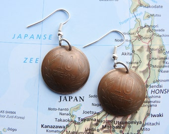Japanese Yen curved coin earrings - made of coins from Japan