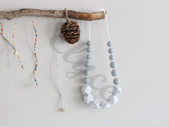 Necklace of teeth to chew on MARBLE GREY for MOM and baby, silicone