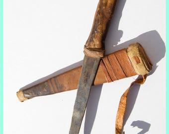 TUAREG DAGGER - Aged Leather Bound Nomadic African Dagger, By the Tuareg People. Sahara Africa