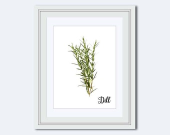 Dill printable - Dill print - herb print - art for kitchen - gift for cook - herb art - Kitchen printable - kitchen wall art - Printable Art
