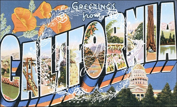 Greetings from california vintage postcard image instant like this item m4hsunfo Gallery