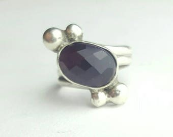 Handmade Sterling Silver and Faceted Amethyst Helix Ring with Symmetrical Silver Orb Accents- Size   8