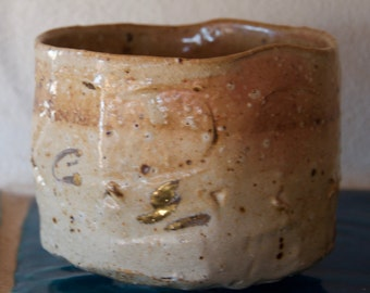 Matcha Chawan, tea bowl, ceramic wood fire - hand shot