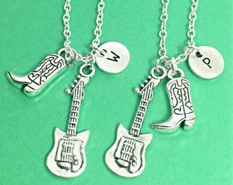 Best friend necklace, guitar necklace, guitar charm, silver best friend jewelry, personalized, custom, initial,set of 2 bff, gift, guitar