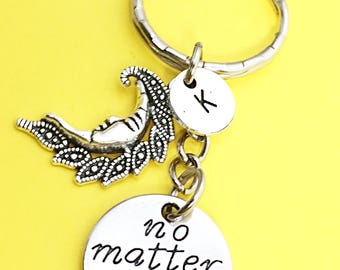 Moon pendant keychain, moon charm,outer space keychain, outer space charm, crescent moon keychain,celestial, silver moon, gift keychain