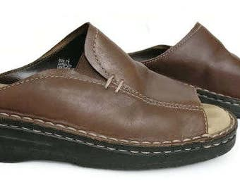 Pure Leather Brown Mule Sandals Vintage By Cherokee Size 7 1/2 Balance Man Made