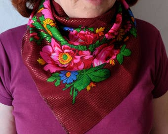 Bordo Russian Scarf, dark-red lurex floral scarf, vintage vinous flowered kerchief, lightweight thin neck scarf, Foulard Russe
