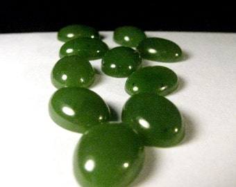 Jade Cabochons ~ Nephrite Jade ~ Pair ~ 10 Cabochons ~ 14mm x 10mm x 4mm