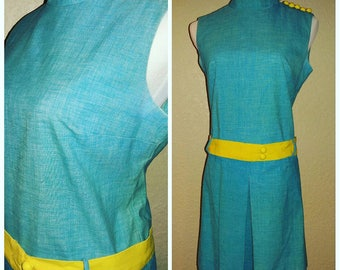 Clearance *** Adorable Turquoise and Yellow Vintage Mod Romper