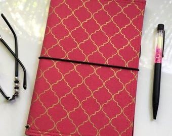 Large/Extra Wide Size Fabric Fauxdori, Midori Style Traveller's Notebook Cover, Ready to Ship - Strawberry Lattice