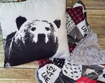 Bear Decorative Pillowcase- Minky pillow case- Envelope Pillow Case- Baby Boy Pillow Case