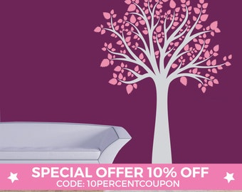 Tree wall decal   Large Tree wall art with leaves   Vinyl wall sticker