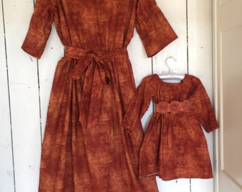 Dress all sizes long or short sleeves rust Fall mother daughter matching dresses matching family mommy and me match mother daughter clothing