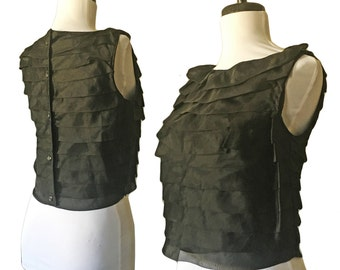 Vintage Retro 60s Black Tiered Ruffled Cropped Sleeveless Top