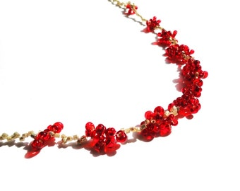Cute, Red Plum Blossoms Necklace, Gold Seed Beads, Red Glass Beads, Beaded Necklace, Floral Necklace, Red Necklace, Gold Plated Necklace