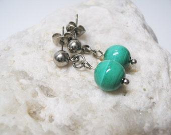 Malachite Earrings-Gemstone Earrings-Green Earrings-Dangle Earings-Stud Earrings-Charm Earrings-Malachite Jewelry-Malachite Charm