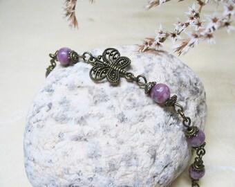 Pink Tourmaline Bracelet Vintage Bracelet Gemstone Bracelet Tourmaline Bracelet Romantic Bracelet Heart Chakra Bracelet Butterfly Bracelet