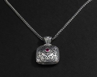 Ladies Pendant Silver  with gold red zircon