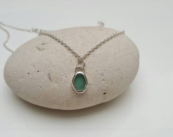 Seaglass Necklace, Teal Seaglass Necklace,Silver Necklace, Seaglass Jewellery, Green Seaglass Necklace