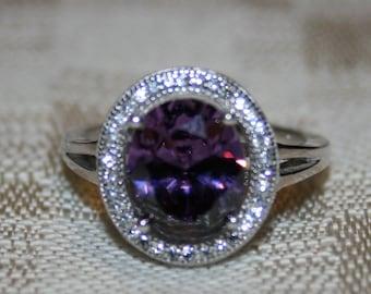 BEAUTIFUL Purple Amethyst & White Topaz Ring set in Sterling Silver!