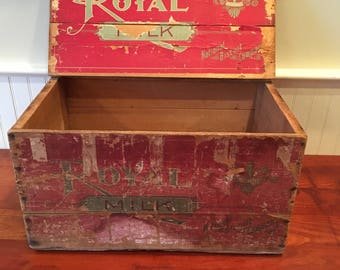 Wood Crate Vintage Biscuit Box Biscuit Shipping Crate Biscuit Crate Wooden Crate Wood Biscuit Crate Wooden Advertising Crate Royal Milk