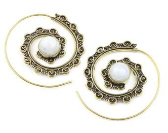 Moonstone Spiral Brass Earrings, Gemstone Jewelry, Tribal Brass Earrings, Festival Jewelry, Gypsy Earrings, Ethnic, Golden Spiral Earrings