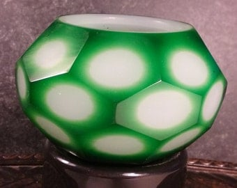 Rare and Beautiful Chinese Peking Faceted Geometric Glass Two-colored Bowl/Bud-Vase! Faceted Cut Two-Colored Bowl, Emerald Green to White!