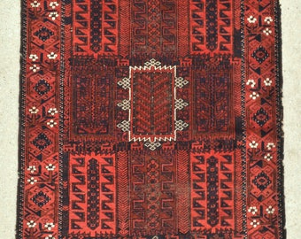 Antique Timuri Baluch rug, Old Tribal rug - 3'7 x 6'11 - 110 x 211 cm. - Free shipping!