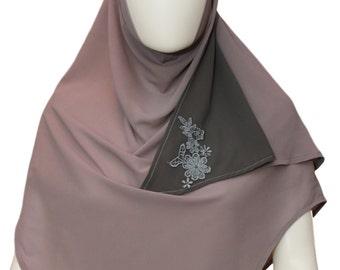 Grey silk scarf,Muslim clothing georgette veil,Islamic headscarf,Head wrap,Islamic headscarf,Motif embroidery scarf,Hijab for women,Veil