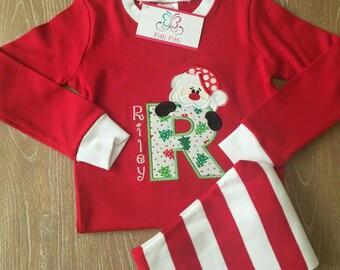 Personalized Christmas Pajamas Monogrammed  - Christmas Pajamas for Children -  Christmas PJs - Boys & Girls Christmas PJs