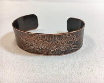 Running Greyhound Copper Cuff Bracelet