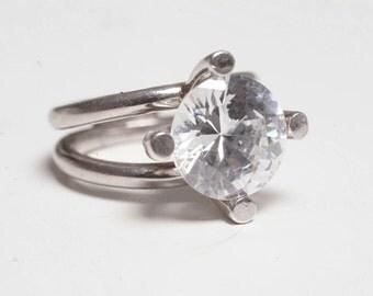 Ivar T Holt Vintage Norwegian Sterling Silver and Rock Crystal Modernist Ring