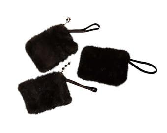 Cell phone case / small handbag in real fur recycled