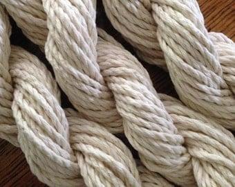 WHITE AUSTRALIAN COTTON Rope / macrame cord, knitting yarn, weaving. Soft fibre 3-strand white cotton:  3mm, 4mm, 5mm