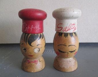 Vintage Salt & Pepper Shakers; Wooden Salt n Pepper Shakers