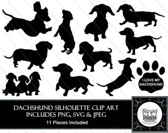 Dachshund Silhouette Clip Art Set - 11 Piece - Pet Dog Silhouette - 7 inches - Instant Download - Printable - SVG, PNG & JPEG #30