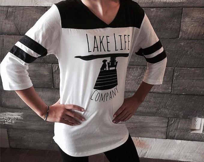 3/4 Sleeve Women's Tee: Lake Life Company Apparel. Lake Life Candle Co.