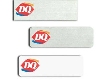"Dairy Queen 1"" x 3"" Employee name badge with up to 2-lines Name/Title and a magnetic back included."
