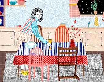 Illustration print - Setting the table