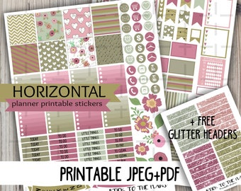 Horizontal Purple Hearts printable planner stickers purple gray brown hearts arrow weekly spring set for use with Erin Condren LifePlannerTM