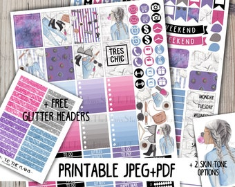 Girl boss printable planner stickers for use with Erin Condren LifePlannerTM purple pink fashion girl jeans glasses blogger marble galaxy