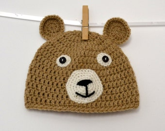 Teddy bear baby hat (3/6 months)